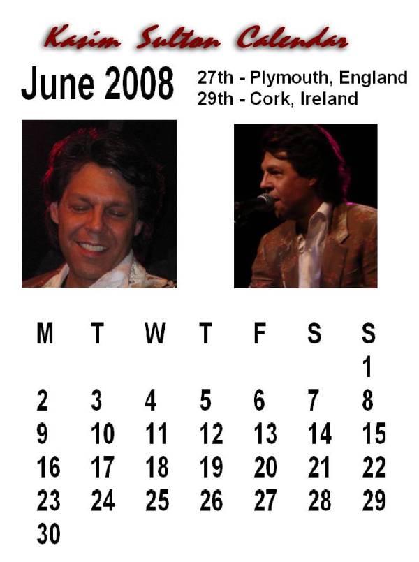 June 2008 Calendar Uk