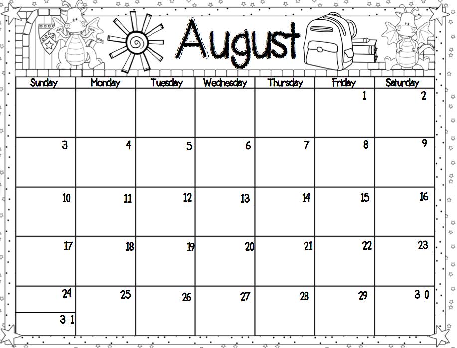 Monthly Calendar Activities For Kindergarten : Kindergarten monthly calendar printable