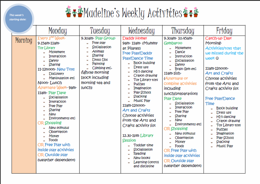 Learn With Play At Home  Weekly Kids Activity Planner