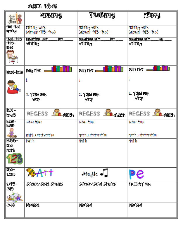 Lesson Plan Clip Art Printable Calendar Template