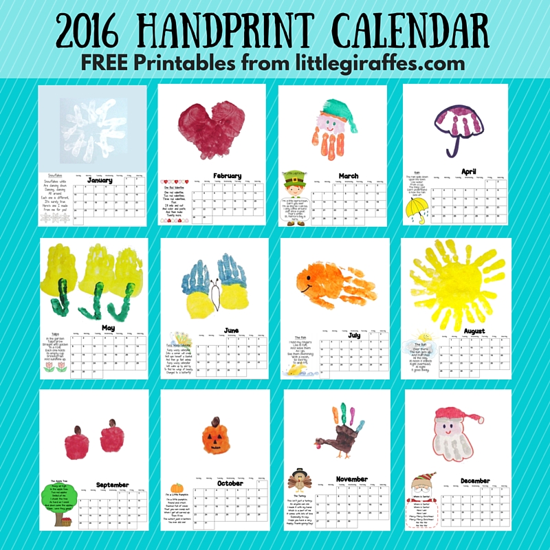Little Giraffes Keepsake Handprint Calendar