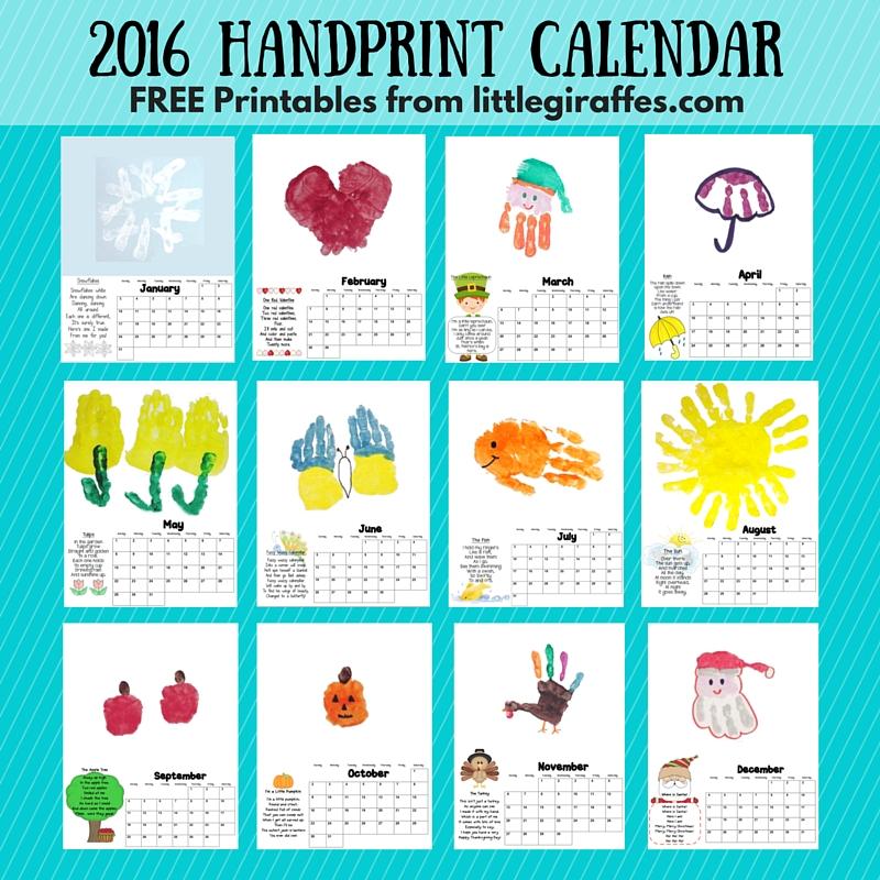 Little Giraffes Keepsake Handprint Calendar