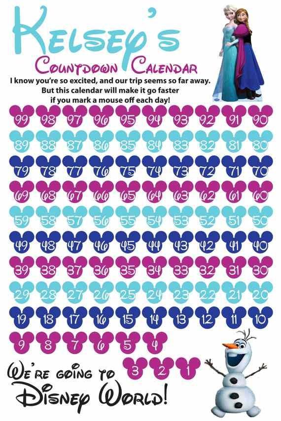 Magic Elsa Frozen Printable Countdown Calendar Templates Ideas