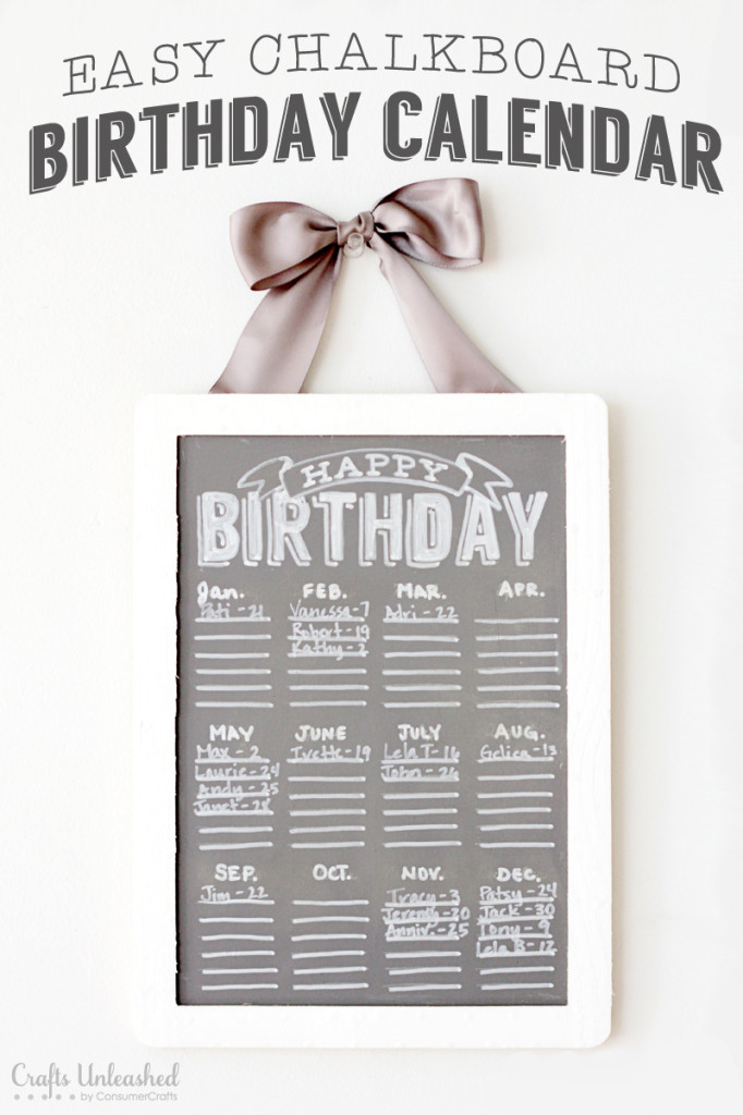Make A Chalkboard Birthday Calender (free Template And Diy