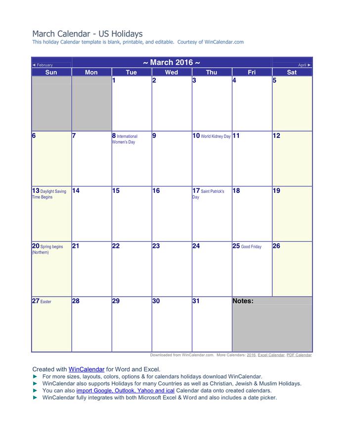 March 2016 Calendar Wincalendar