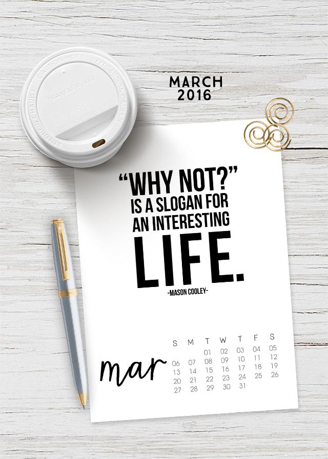 March 2016 Printable Calendar