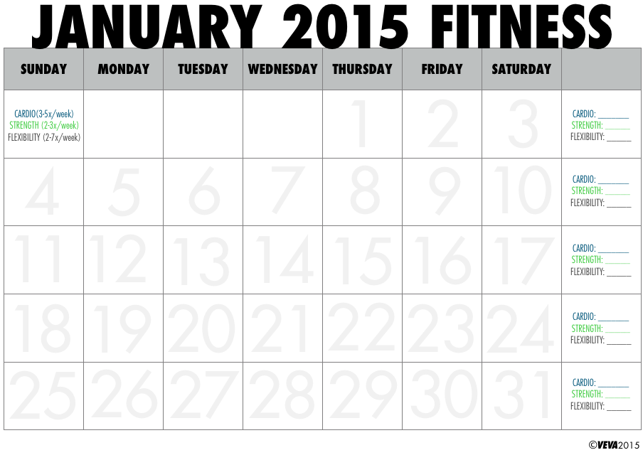 May 2015 Printable Fitness Calendar