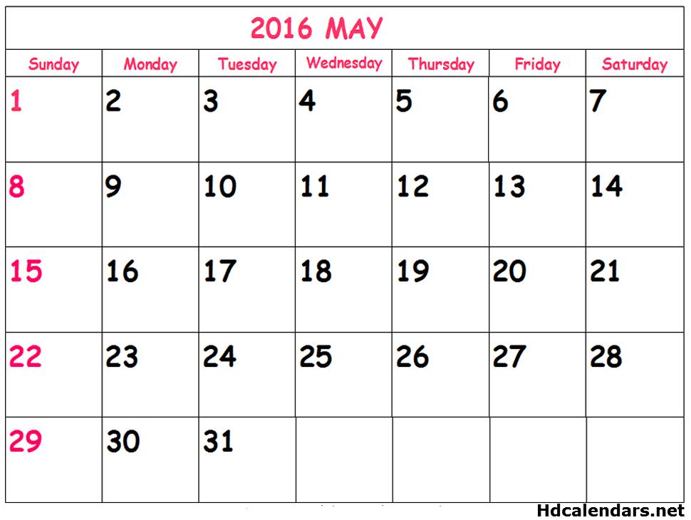 May 2016 Printable Calendar Free