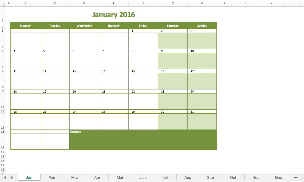 Monthly Calendar 2016 Excel
