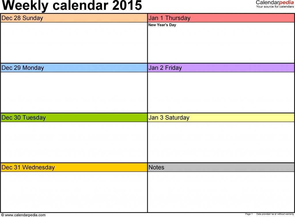 New Two Week Calendar Template