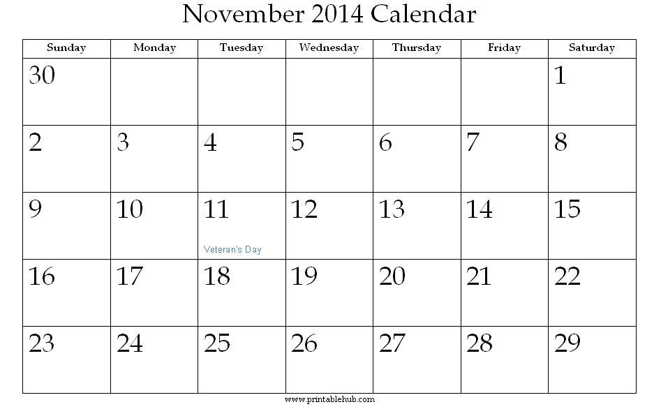 November 2014 Calendar Printable