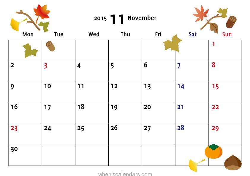November 2015 Calendar Templates