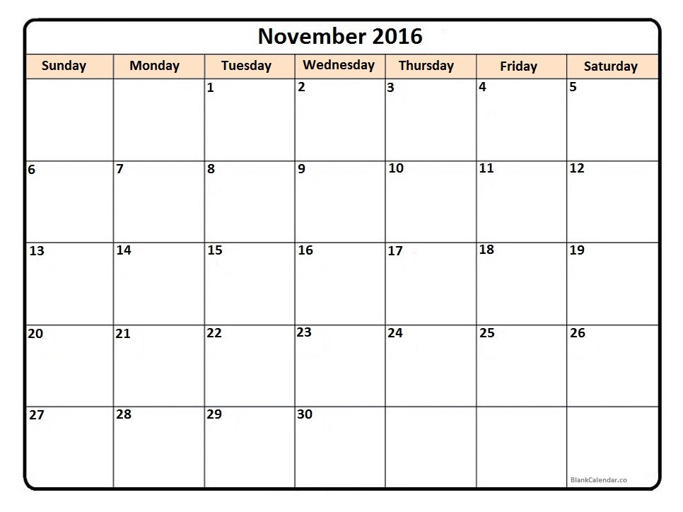 November February 2016 Calendar Printable