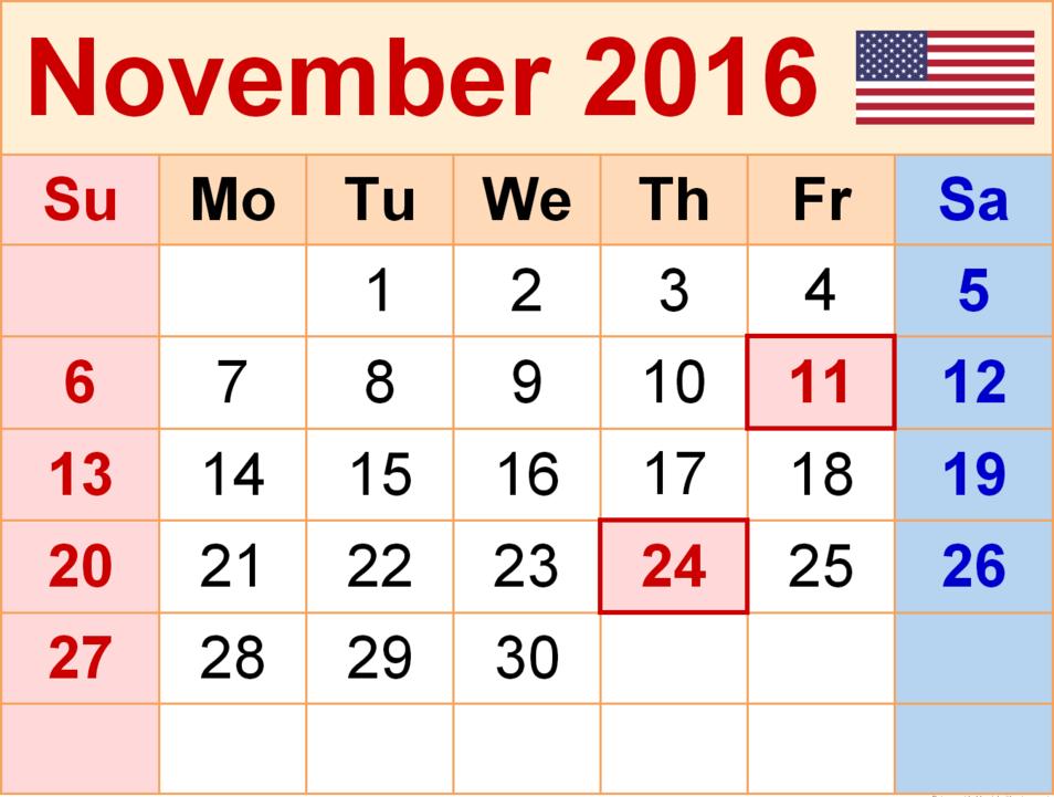 November Month 2016 Printable Calendar Template