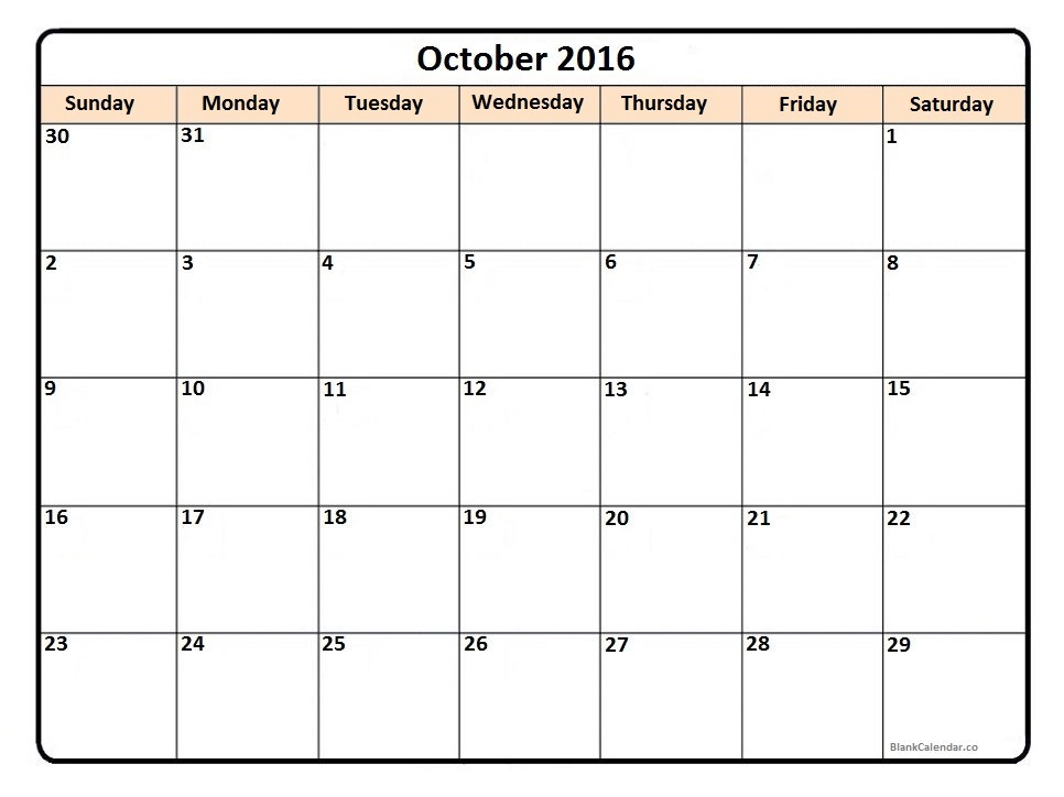 October Printable Calendars » Calendar Template 2017