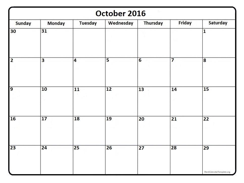 October 2016 Calendar Printables Pdf