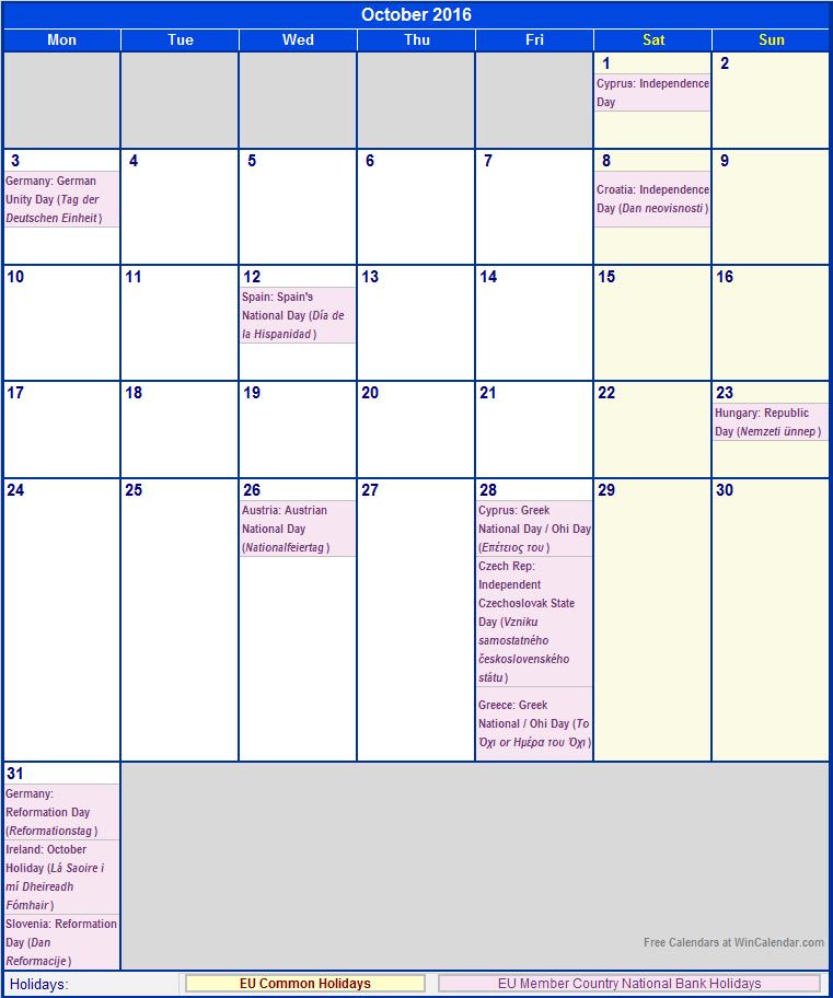 October 2016 Eu Calendar With Holidays For Printing (image Format)