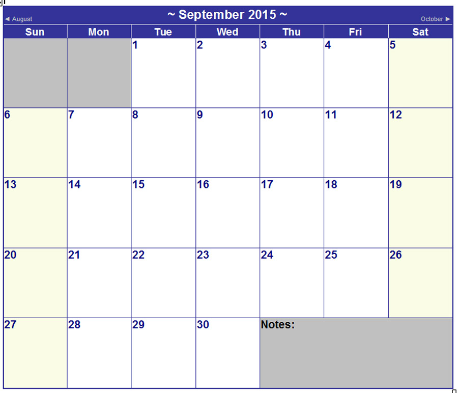 October Calendar 2016 Microsoft Word