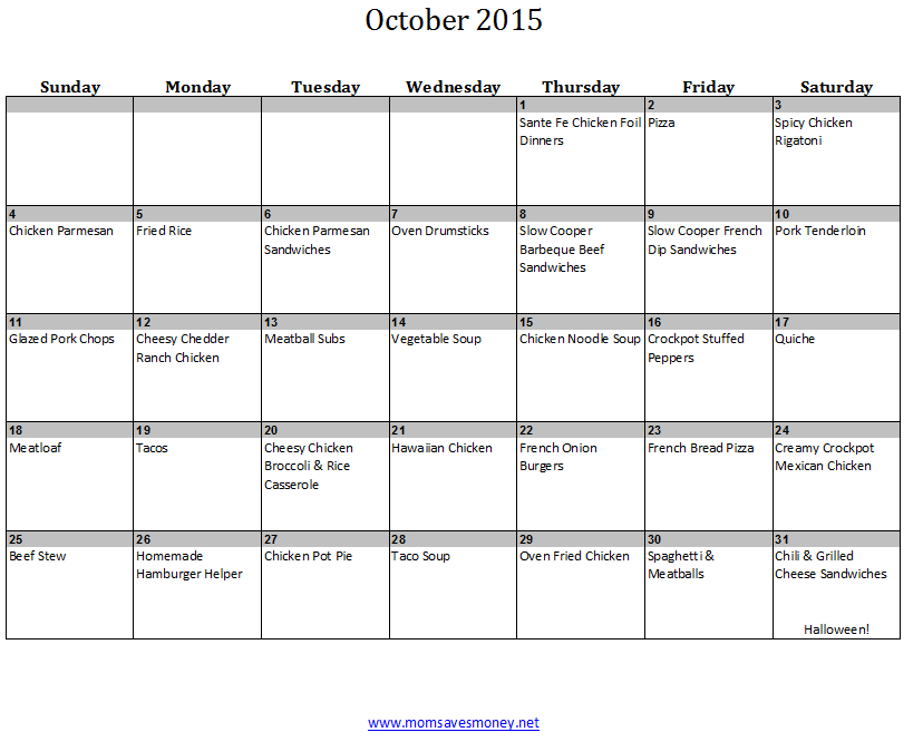 October Monthly Meal Plan With Easy Recipes & Printable Calendar