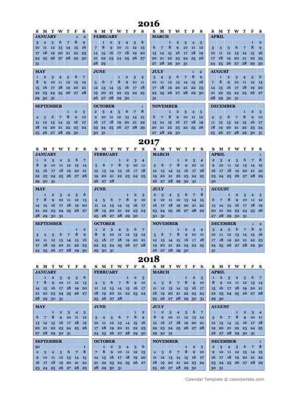 Three Year Calendar Printable Free Calendar Template 2018