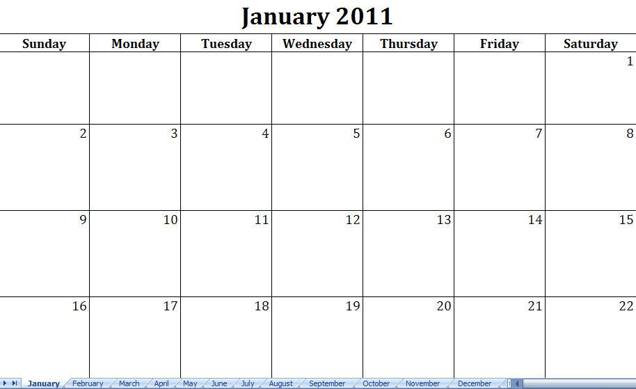 Printable Calendar Template