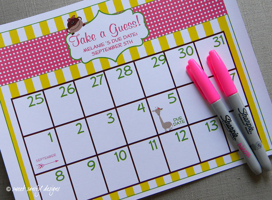 Printable Due Date Calendar    Baby Shower Game    By Sweetsanity