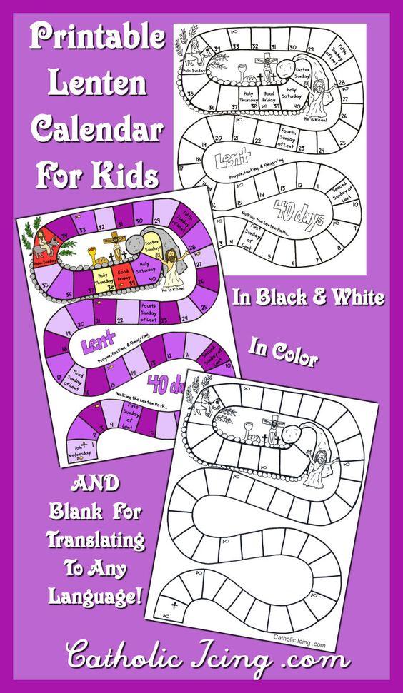 Printable Lenten Calendar For Kids (catholic Icing)