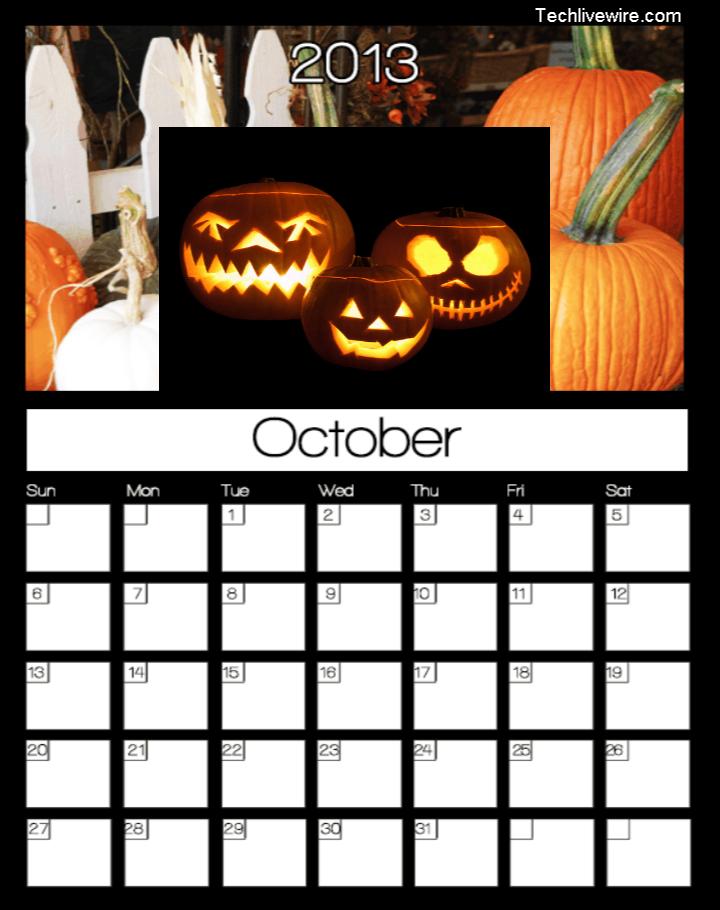Printable October Calendar 2013 – Tech Livewire