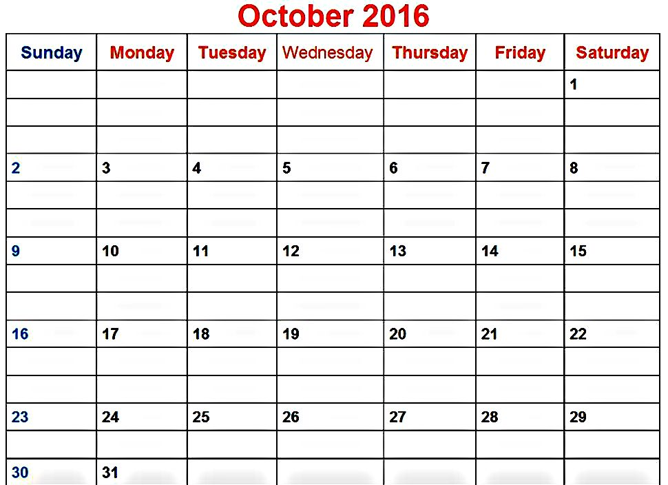 Printable Online 2016 October Calendar