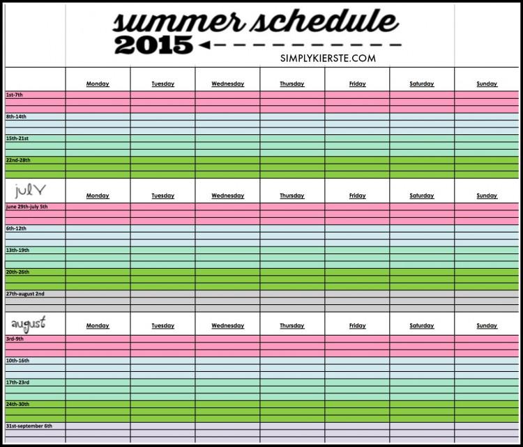 Printable Summer Schedule 2015