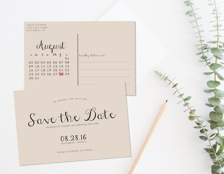 Rustic Save The Date Printable, Save The Date Postcard, Save The