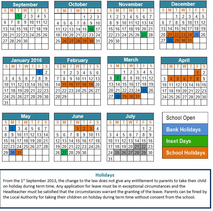 School Calendar 2015