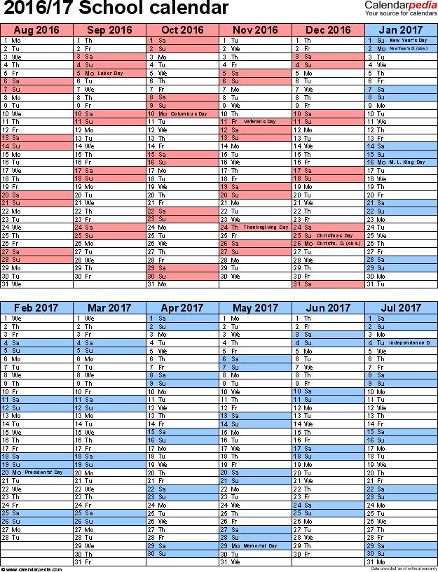 School Calendars 2016 2017 As Free Printable Word Templates