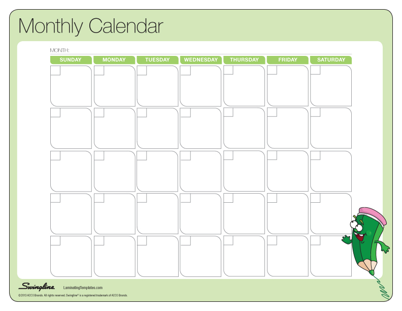 Blank Calendar You Can Type Into : Printable blank monthly calendars calendar template