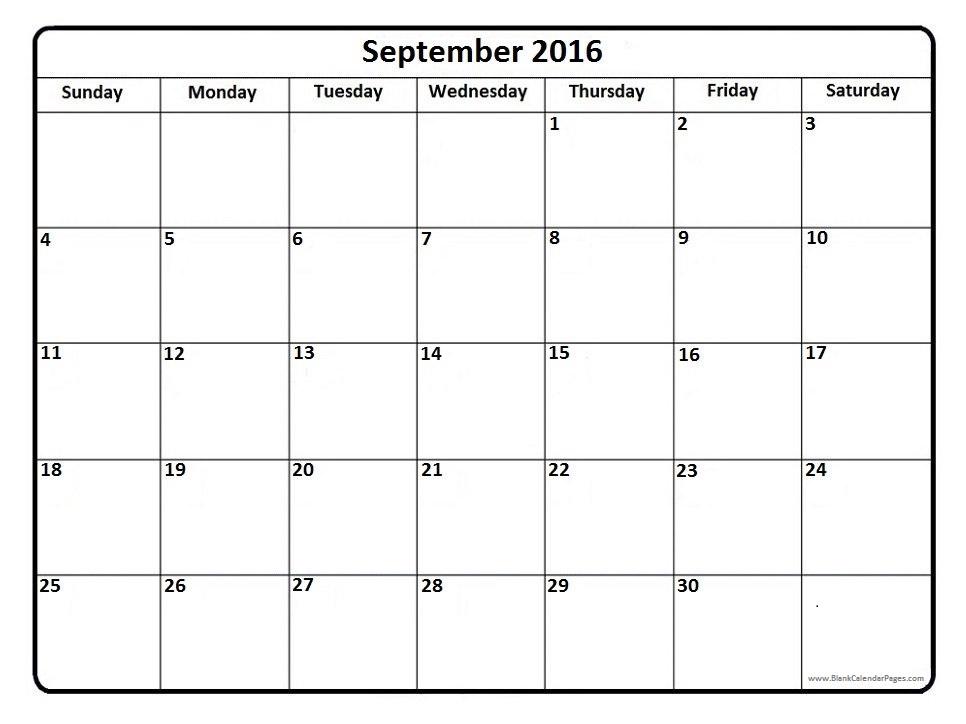 September 2016 Calendar  Wordcalendar  Calendartemplates