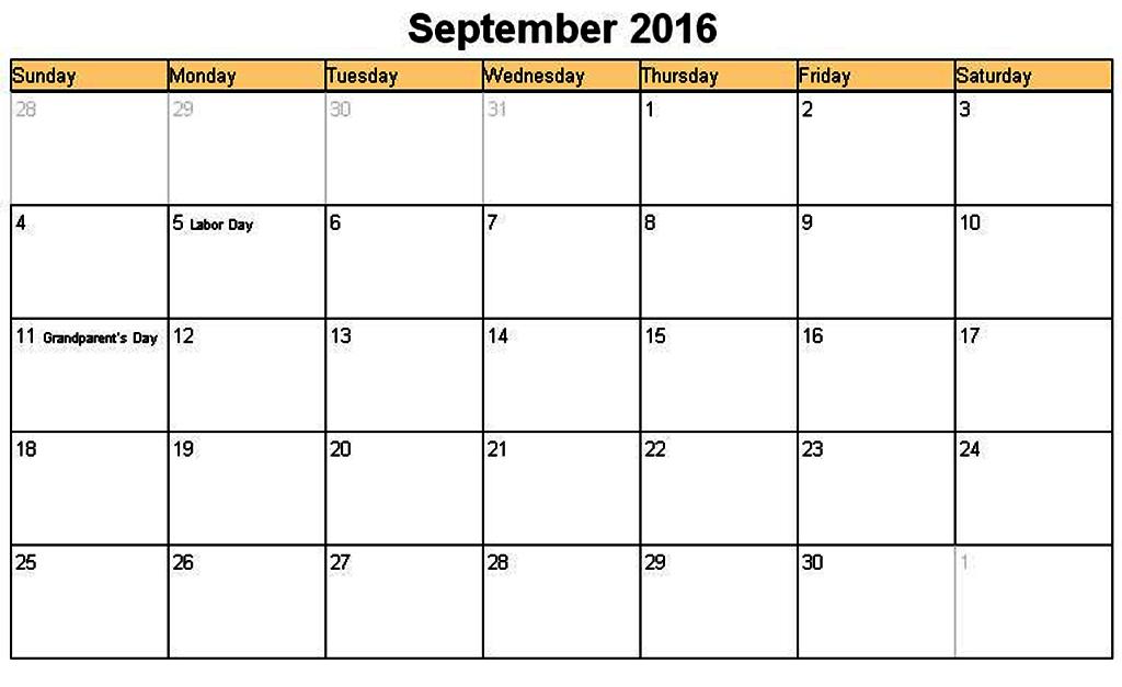 September 2016 Word Calendar