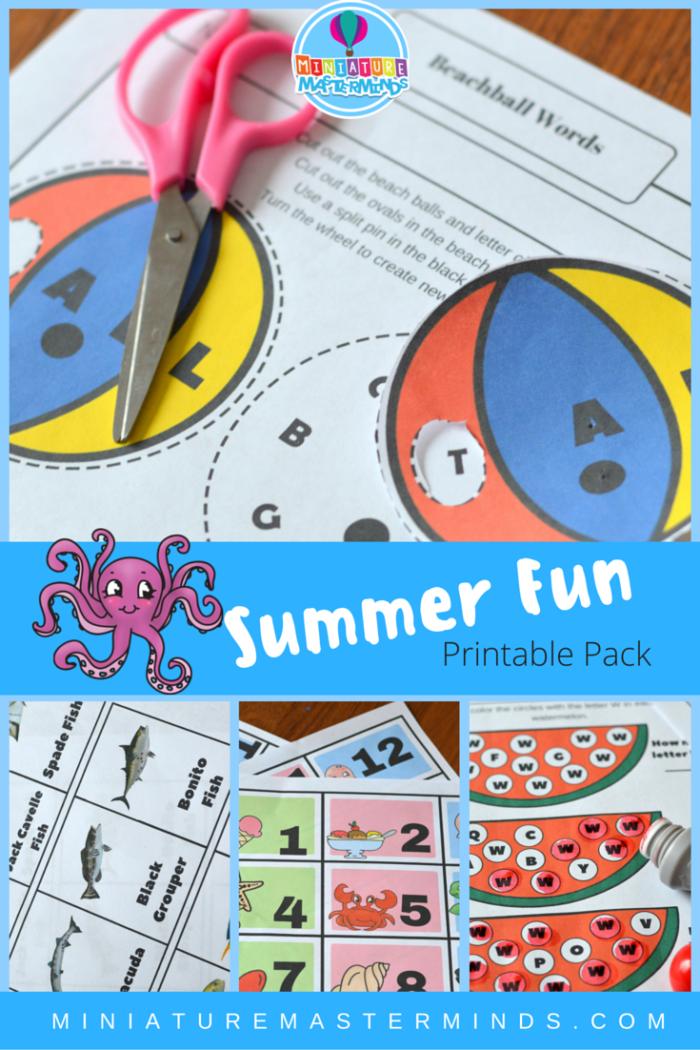Summer Fun Printable Pack (calendar Numbers, Fish Matching Game
