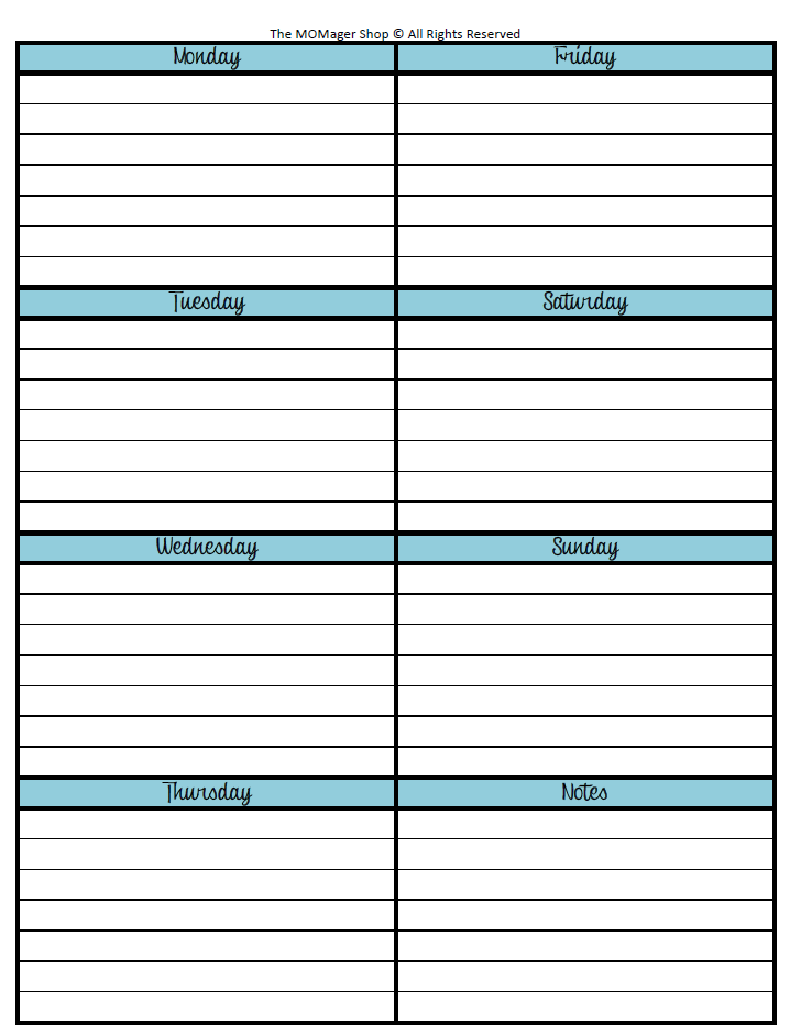 Week at a glance printable calendar calendar template 2018 for Month at a glance blank calendar template