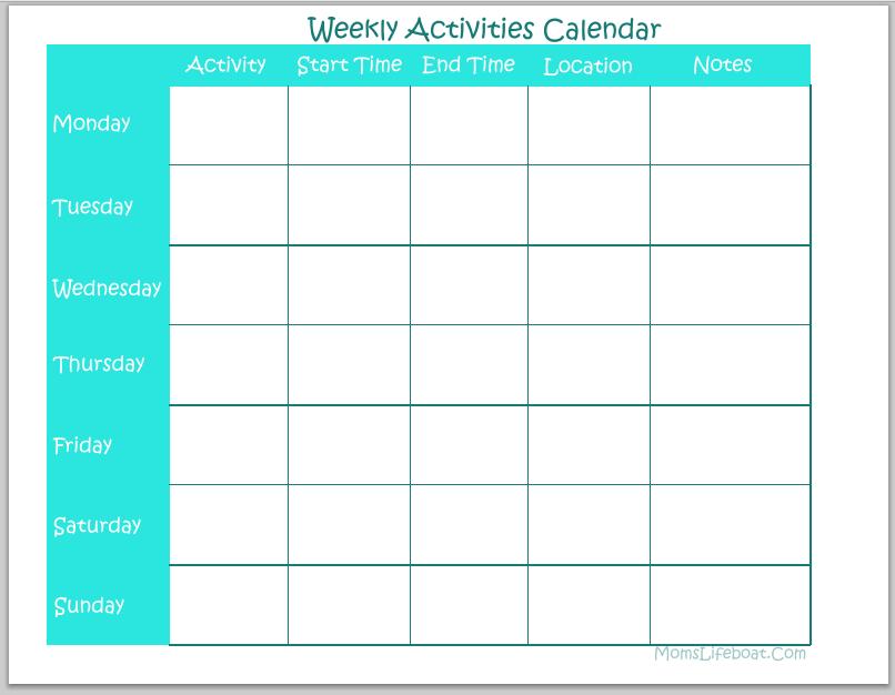 Weekly Activities Calendar