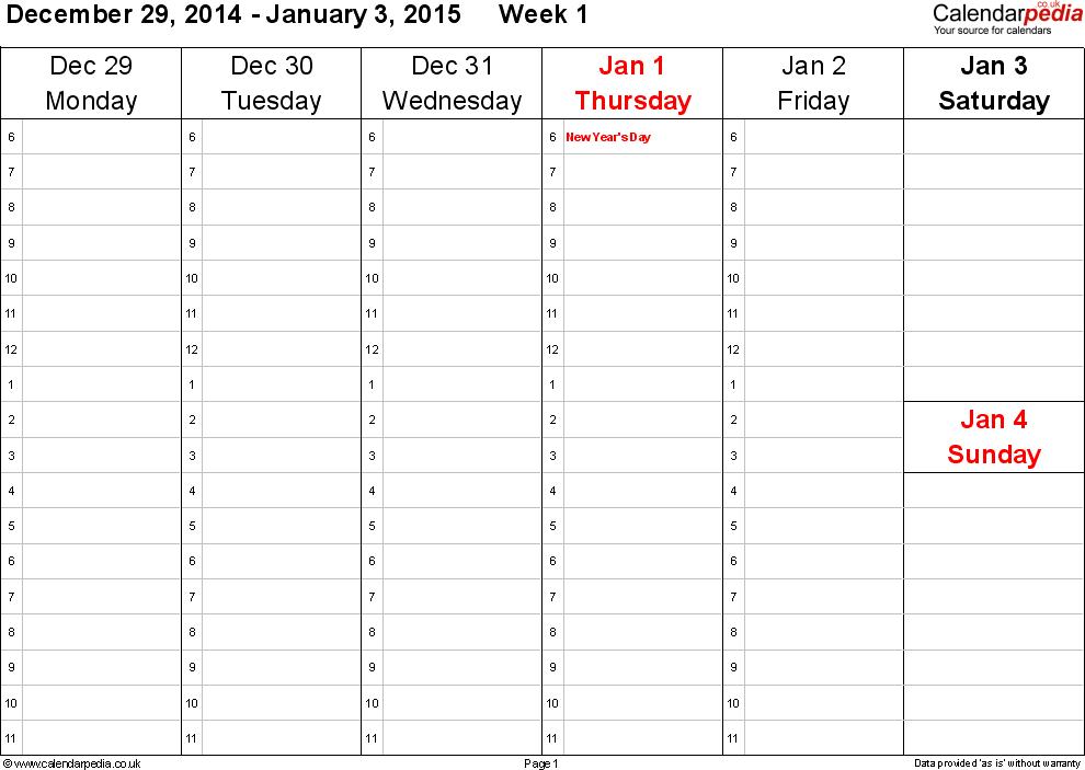 Weekly Calendar 2015 Uk