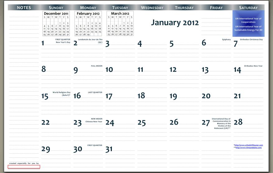 11x17 Calendar Template 2012 Free