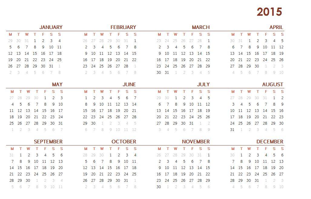 2015 Printable One Page Calendar