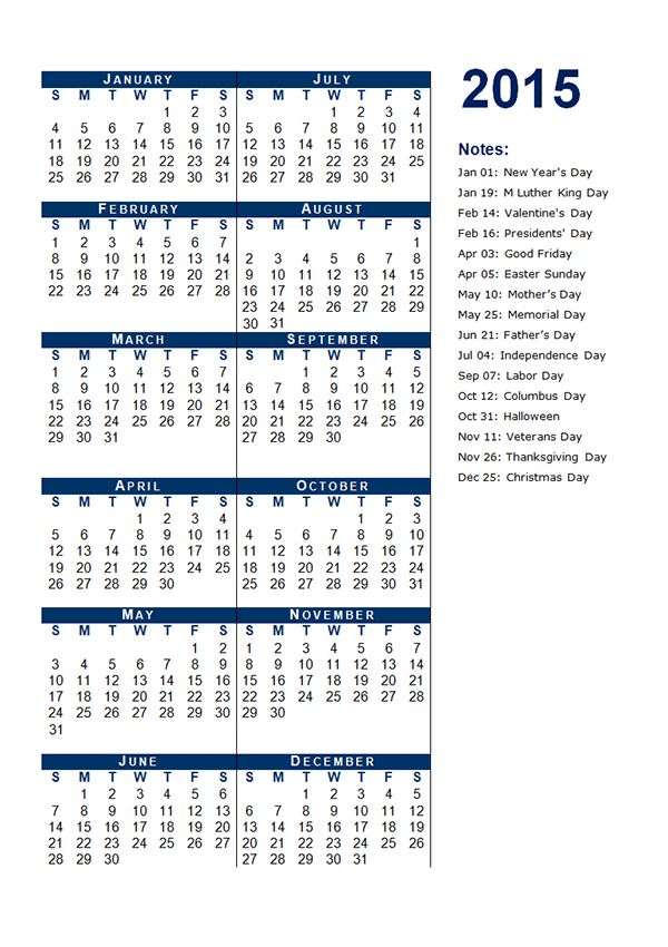 2015 Yearly Calendar Template 03