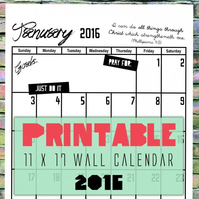 2016 Calendar 11 By 17 Printable
