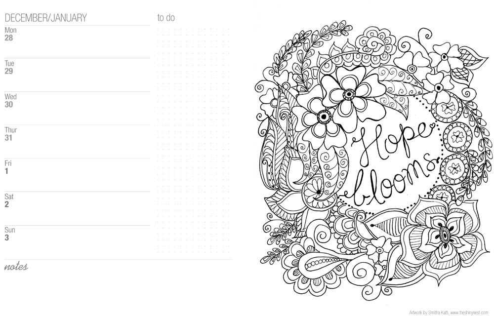 2016 Calendar Printable Free Coloring Pages Sketch Coloring Page