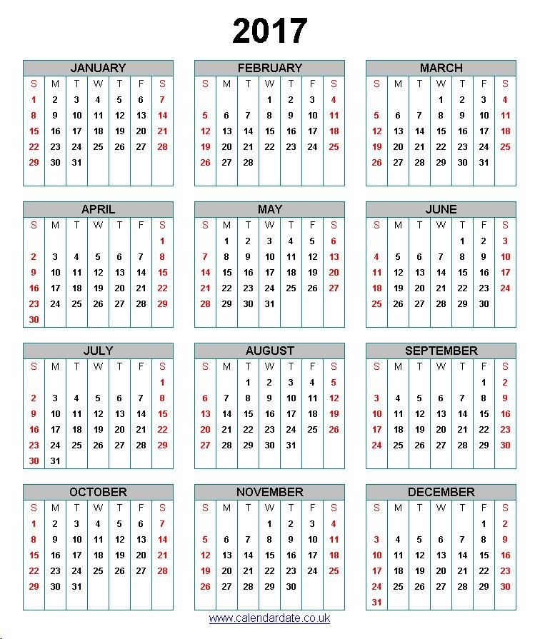 2017 Calendar Uk