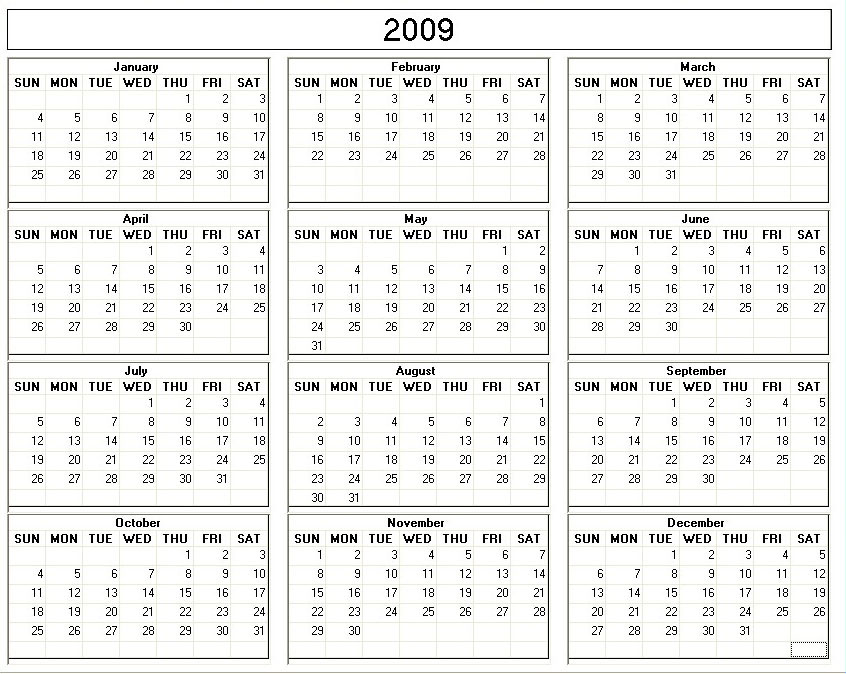 4 Best Images Of 2009 Calendar Printable One Page