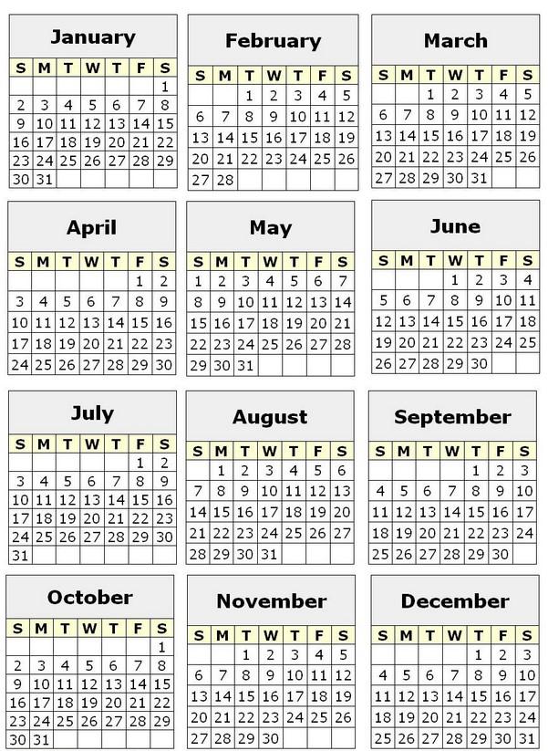 4 Month Calendar Printable