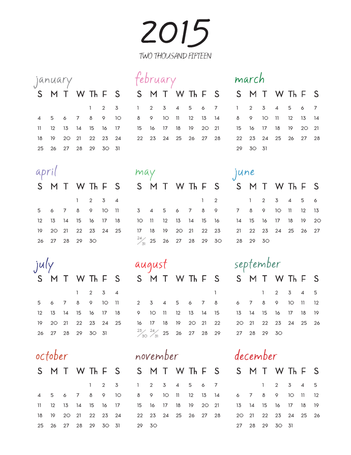 6 Best Images Of Free 2015 Printable One Page Calendar