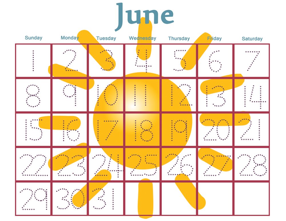 Free printable calendar numbers for preschool calendar for Kindergarten timetable template